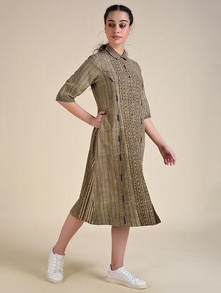 Brown Dabu Cotton Shirt Dress with Hand Embroidery