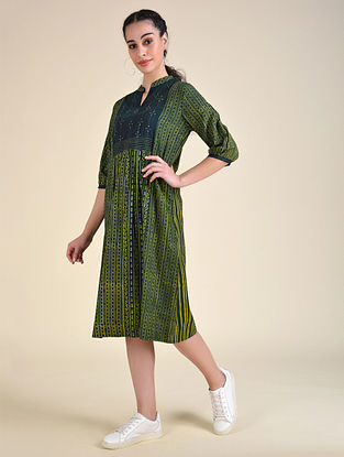 Green Dabu Cotton Dress with Hand Embroidery