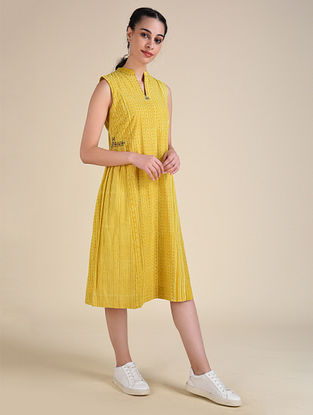 Yellow Dabu Cotton Dress with Embroidery