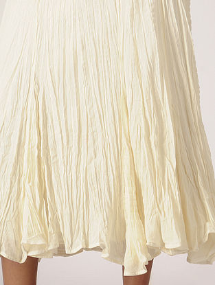 Ivory Elasticated Waist Crinkled Cotton Skirt