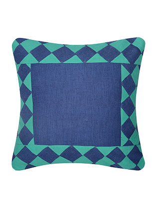 Turquoise-Blue Cotton Cushion Cover with Patch Work (16in x 16in)
