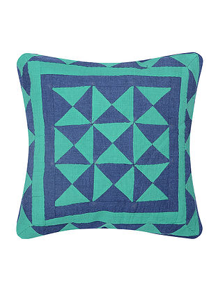 Turquoise-Blue Cotton Cushion Cover with Patch Work (12in x 12in)
