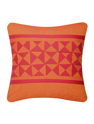 Orange-Red Cotton Cushion Cover with Patch Work (16in x 16in)