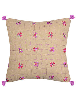 Beige-Pink Cotton Cushion Cover with Patch Work (16in x 16in)