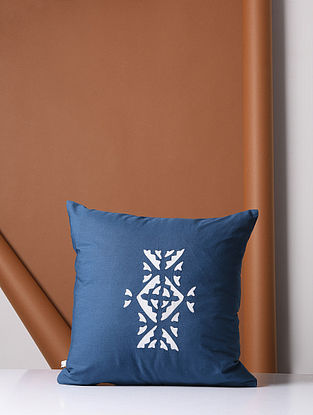 Blue-White Cotton Cushion Cover with Applique Work (16in x 16in)