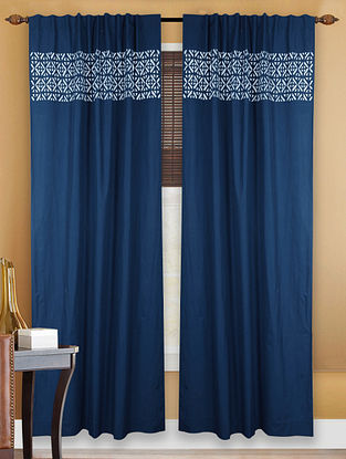 Blue-White Cotton Curtain with Applique Work - 9ft