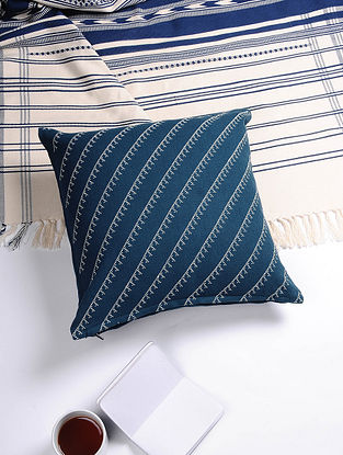 Blue-White Hand Woven Cotton Cushion Cover (16in x 16in)