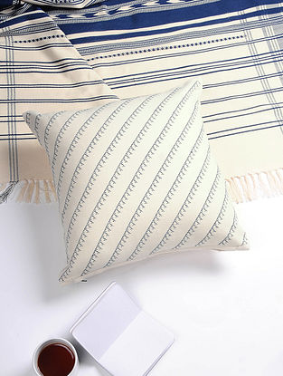 White-Blue Hand Woven Cotton Cushion Cover (16in x 16in)