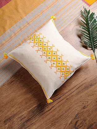 White-Orange Hand-Embroidered Cotton Cushion Cover (16in x 16in)