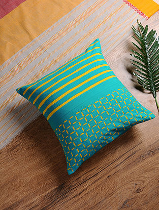 Turquoise-Yellow Hand-Embroidered Cotton Cushion Cover (16in x 16in)