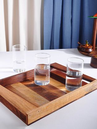 Brown Hand Painted Sheesham, Mango and Tun Wood Tray (L - 14in, W - 10in, H - 1.5in)