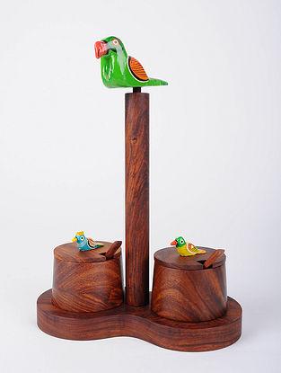 Brown Hand Painted Sheesham Wood Jars (Set of 2) (L - 4in, W - 8in, H - 11in)