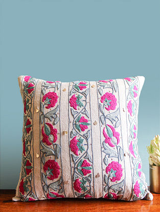 Suzani Inspired Off-White-Multicolor Embroidered Linen Cushion Cover (16in x 16in)