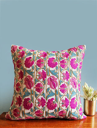 Suzani Inspired Pink-Multicolor Embroidered Linen Cushion Cover (16in x 16in)