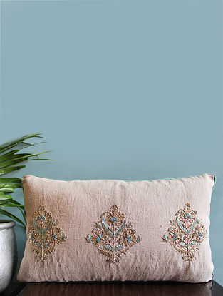 Multicolor Embroidered Linen Cushion Cover (12in x 20in)