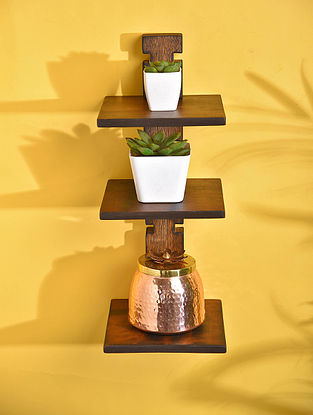 Brown Handcrafted Marandi Wood Shelf Support (L - 7in, W - 7in, H - 18in)