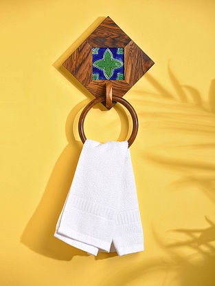 Brown Teakwood Towel Holder with Sheesham Ring and Tile (L - 8in, W - 8in, H - 2in)