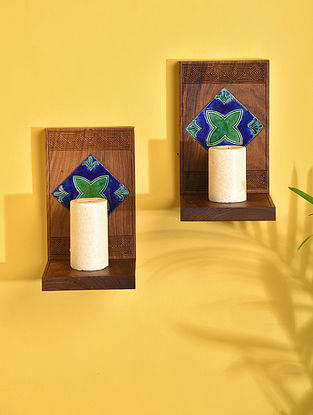 Brown Handcrafted Sheesham Wood and Tile Candle Ledges (Set of 2) (L - 4.5in, W - 4.6in, H - 7.7in)