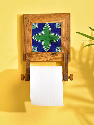 Brown Teakwood Toilet Roll Holder with Tile (L - 8.5in, W - 6in, H - 3.5in)