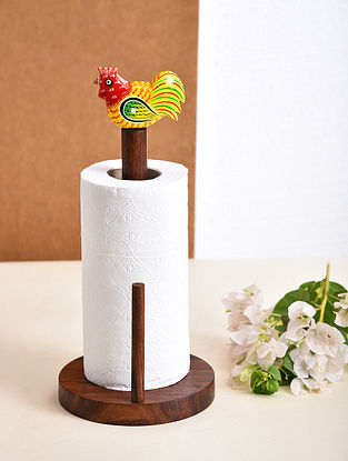 Brown and Yellow Handcrafted Sheesham Wood Kitchen Paper Towel Holder (L - 6in, W - 6in, H - 13in)