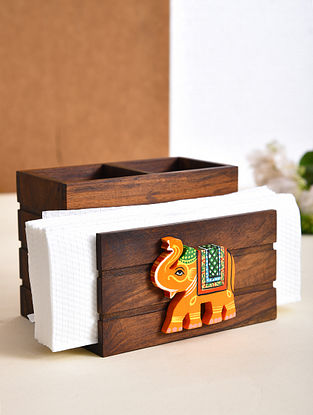 Brown and Orange Handcrafted Sheesham Wood Cutlery Holder with Gold Block (L - 5in, W - 5.6in, H - 4.2in)