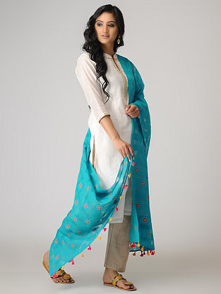 Blue-Pink Hand-embroidered Cotton Dupatta with Tassels