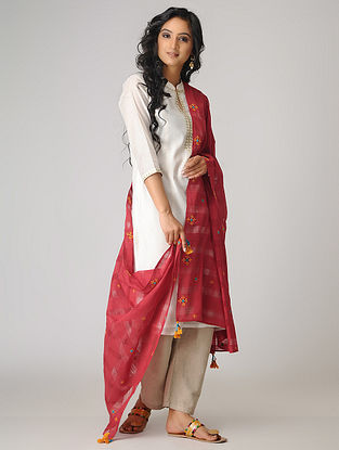 Red-Yellow Hand-embroidered Cotton Dupatta with Tassels