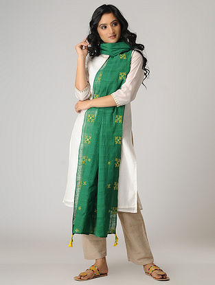 Green-Yellow Hand-embroidered Cotton Dupatta with Tassels
