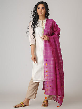 Pink-Yellow Hand-embroidered Cotton Dupatta with Tassels
