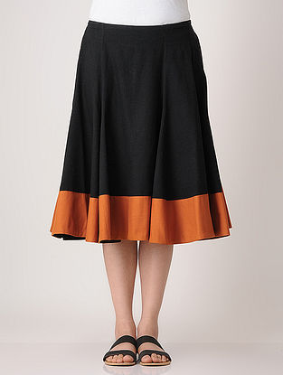 Black-Rust Elasticated Khadi Skirt
