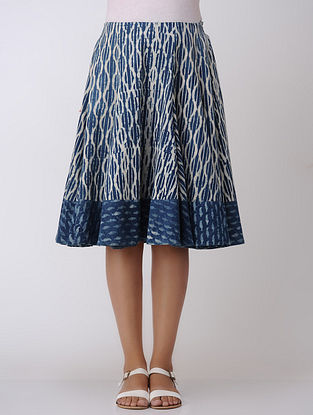 Indigo Dabu-printed Elasticated Waist Handwoven Cotton Skirt