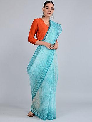 Blue-Ivory Batik-dyed Kota Doria Saree