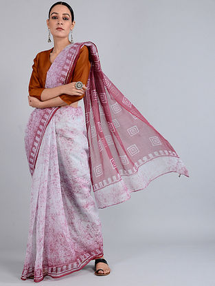 Ivory-Red Batik-dyed Kota Doria Saree