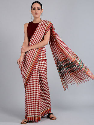 Red-Ivory Checkered Batik-dyed Cotton Saree