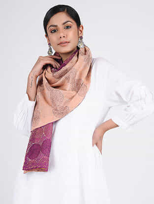 Beige-Purple Kantha-embroidered Silk Reversible Stole
