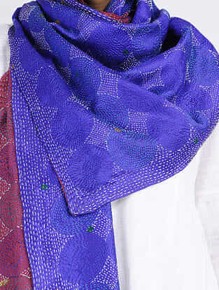 Blue-Maroon Kantha-embroidered Silk Reversible Stole