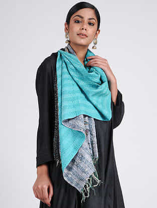 Turquoise-Ivory Kantha-embroidered Silk Reversible Stole