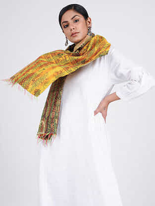 Yellow-Beige Kantha-embroidered Silk Reversible Stole