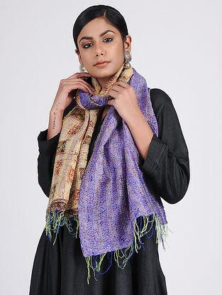 Purple-Beige Kantha-embroidered Silk Reversible Stole