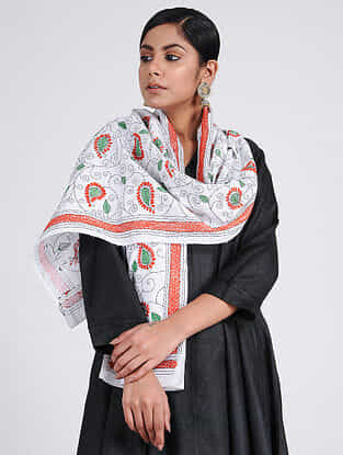 Ivory-Red Kantha-embroidered Silk Stole