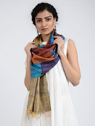 Multicolored Kantha-embroidered Silk Reversible Stole