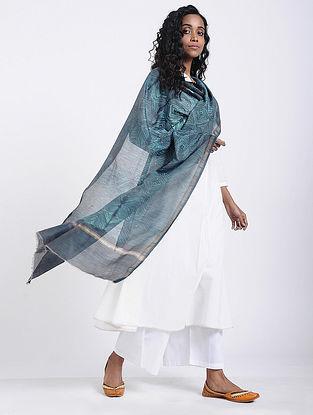 Blue-Ivory Shibori-dyed Chanderi Dupatta witn Zari Border