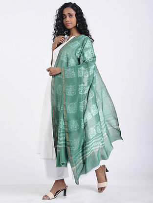 Green-Ivory Shibori-dyed Chanderi Dupatta witn Zari Border