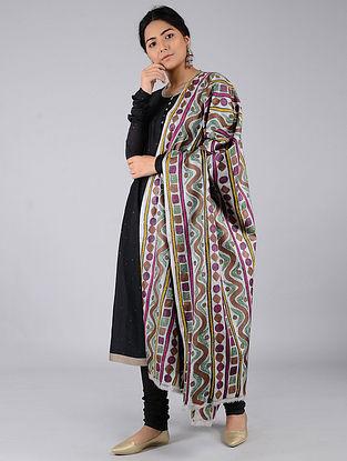 Ivory-Purple Kantha-embroidered Tussar Silk Dupatta