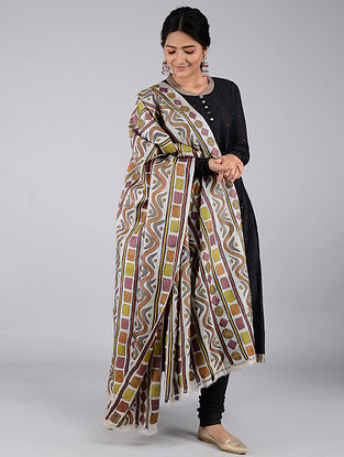 Multicolor Kantha-embroidered Tussar Silk Dupatta