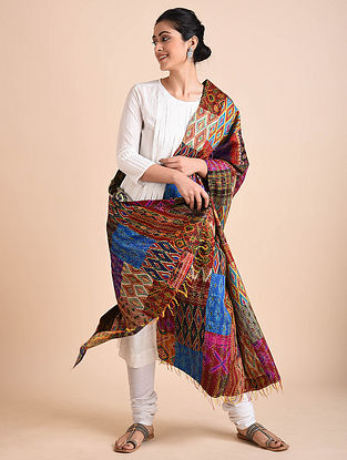 Multicolored Embroidered Ikat Silk Reversible Dupatta with Patchwork
