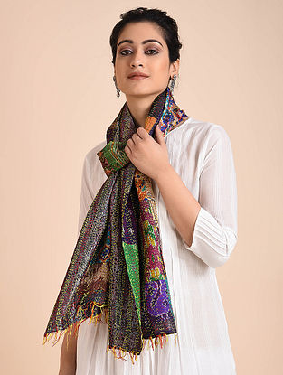 Multicolored Embroidered Ikat Silk Reversible Stole with Patchwork