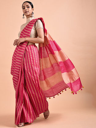 Pink Mulberry Silk Saree with Tassels
