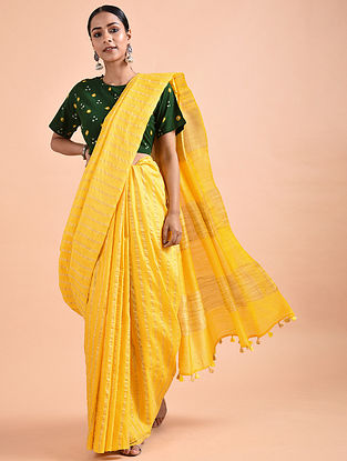 Yellow Mulberry Silk Saree with Zari and Tassels