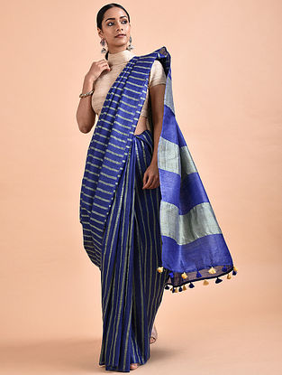 Blue Mulberry Silk Saree with Tassels